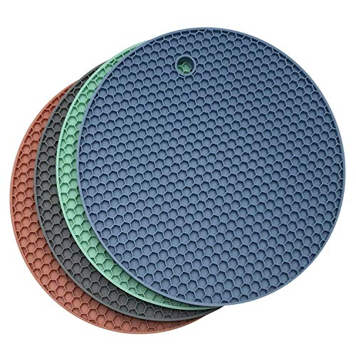 Axe Sickle 4 Pcs Trivet Mat Multipurpose Silicone Pot Holders, Hot Pads Silicone Heat Resistant Coasters, Cup Insulation Mat, Insulation Pad Potholders, Multi-Colored.