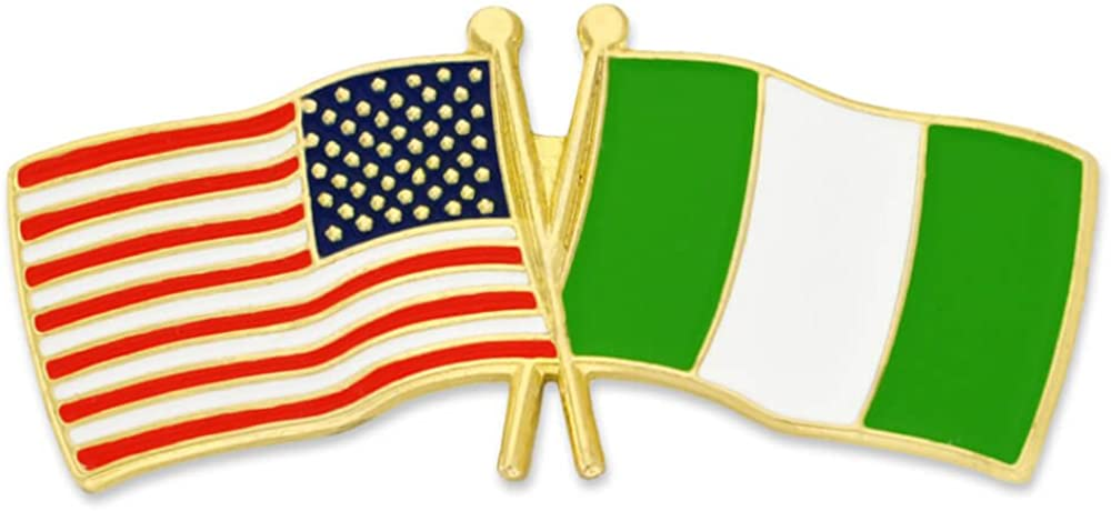 PinMart USA and Nigeria Crossed Pin Luxury Enamel Friendship OFFicial shop Lapel Flag