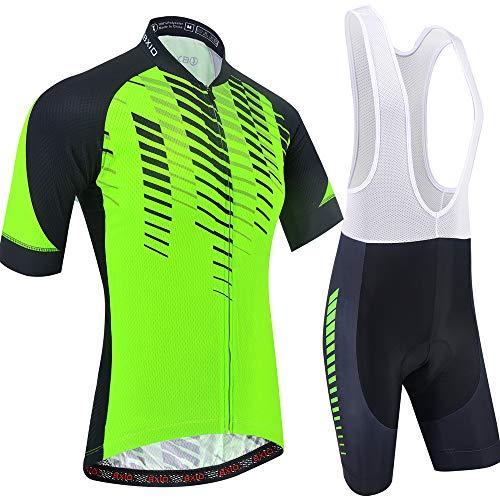 BXIO Jerseys de Ciclismo Fluo Green para Hombres Mangas Cortas Ropa de Bicicleta Transpirable 5D Gel Pad Shorts Trajes de Ciclismo 203 (Fluo Green(203,Bib shrots), M)