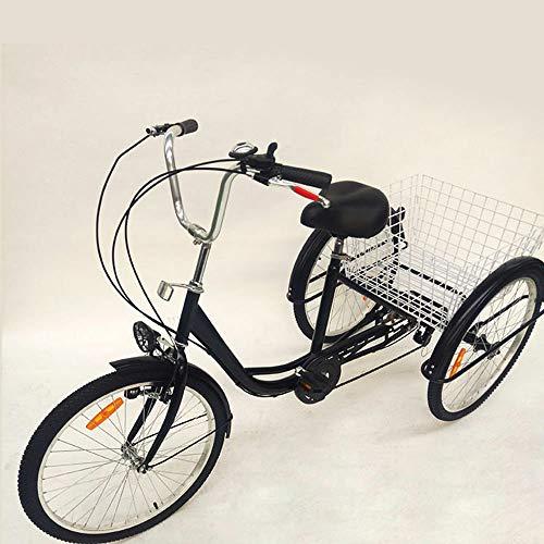 Triciclo para adultos de 24 pulgadas, 6 marchas, triciclo para adultos, 3 ruedas, con base, para madres, mujeres, ancianos (negro)
