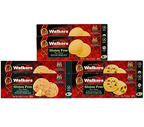 Walkers Shortbread Gluten Free Variety Pack, (2 of Each: Shortbread Rounds, Chocolate Chip, Ginger & Lemon), 6 Count