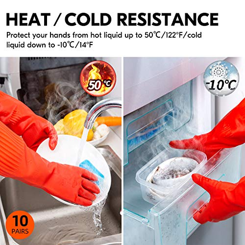 Product Image 5: Vgo 10-Pairs Dishwashing Gloves, Reusable Household Gloves, Kitchen Gloves, Long Sleeve, Thick Latex, Cleaning, Washing, Working, Painting, Gardening, Pet Care (Size L, Red, RB2143)