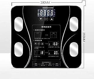 KLT Báscula Báscula de Pesaje de Baño Báscula de Peso LCD Smart Body Balance Electrónica Báscula Bmi Cuerpo Báscula 180Kg Negro