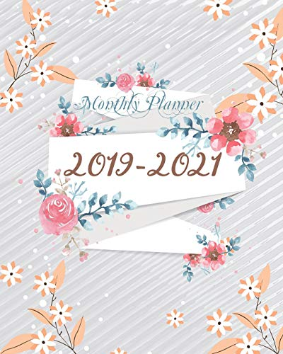 2019-2021 Monthly Planner: Cute Orange Floral Cover for Monthly Schedule Organizer 36 Months Calendar Agenda Planner with Holiday