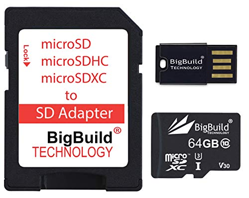 BigBuild Technology Tarjeta de memoria microSD de 64 GB y 100 MB/s para Xiaomi Pocophone F1, A2 Lite Mobile Clase 10 U3 V30