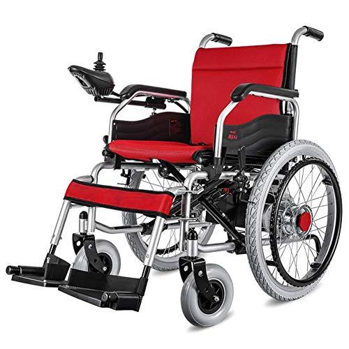 AMITD Leichte Doppelfunktion Faltbare Elektro-Rollstuhl (Mit 20A Lithium-Batterie), Drive Mit Elektrischer Energie Oder Zur Verwendung Als Manuellen Rollstuhl,Weihnachten