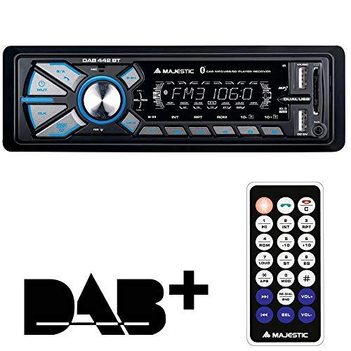 Majestic DAB-442 BT - Autoradio RDS FM stereo/ DAB+ PLL, Bluetooth, Doppio USB, Ingressi SD/AUX-IN, 180W (45W x 4ch), Nero