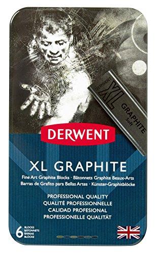 Bloco XL Graphite 6 Cores Estojo Lata Derwent, 2302010