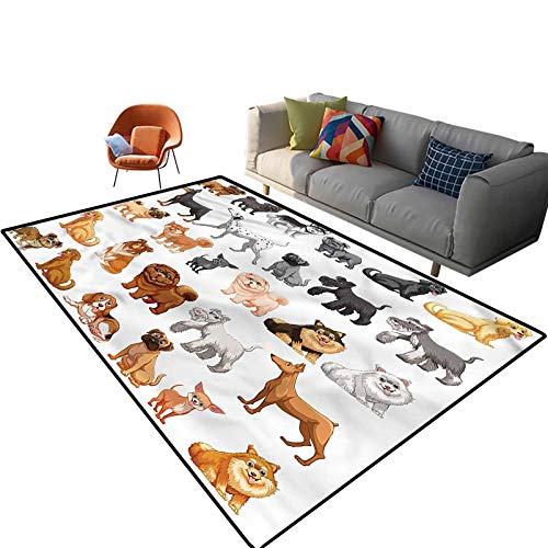 Indoor Room Dog Lover Area Rugs,6'x 9',Dalmatian and Retrievers Floor Rectangle Rug with Non Slip Backing for Entryway Living Room Bedroom Kids Nursery Sofa Home Decor