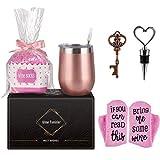 Set regalo di bicchieri da vino con calze da vino per donne, in acciaio inox, 12 ml, con coperchio, calze da vino, apribottiglie e cannuccia, per vino, bevande, champagne, cocktail