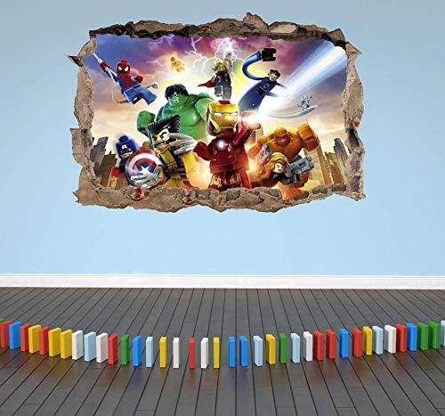 WTQang Etiqueta de la pared Lego Avengers 3D Etiqueta de la pared para niños Smashed Breakout Niños Niñas Dormitorio