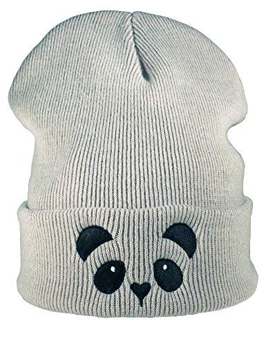 Strickmütze: Panda - Wollmütze/Wintermütze/Rollmütze/Long Beanie/Mütze/Seemannsmütze/Unisex Herren Damen/Cool Design Logo Bestickt/Hip Hop/Kinder (One Size)