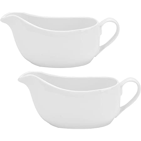 Yesland 2 Pcs 15 oz Gravy Boat, Ceramic White Easy-Pour Gravy Boat for Dining, Holiday Meals & Parties