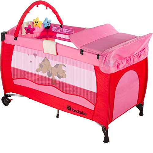 TecTake Cuna infantil de viaje de altura ajustable con acolchado para bebé - disponible en diferentes colores - (Pink | 400533)