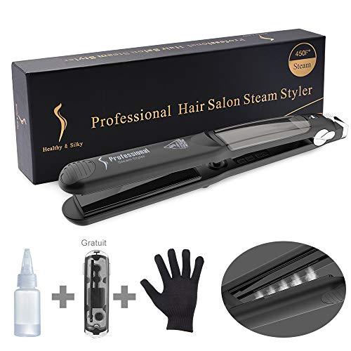 LONGKO Lisseur Cheveux Vapeur Fer à Lisser/Boucler Professionnel Plaque en Céramique -Avec Ecran LCD 6 Températures Réglables Pour Tous Types de Cheveux
