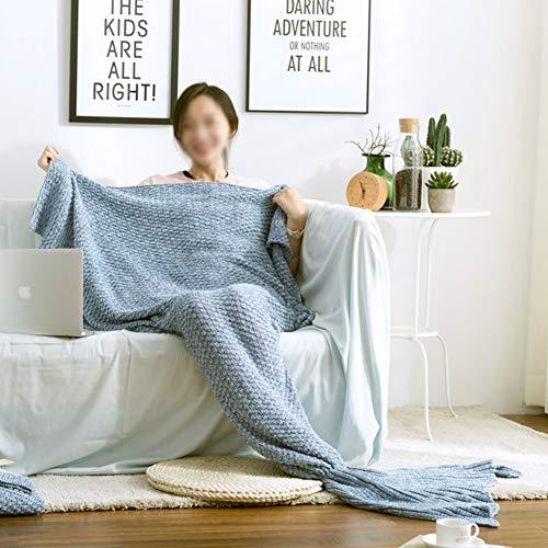 XXLLQ Meerjungfrau Decke, Handgemachte häkeln meerjungfrau Flosse Decke für Erwachsene, Mermaid Blanket alle Jahreszeiten Schlafsack,Blue,60x130CM