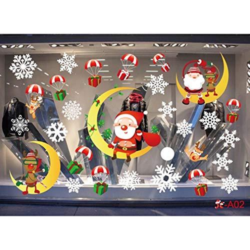 Ifdayy Weihnachtsfenster Wandaufkleber Farbe Keine klebenden statischen Fensteraufkleber Weihnachtsschmuck für Home Shop Party,Foto Farbe1