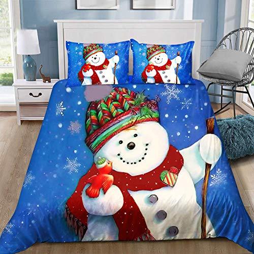 Juego de funda de edredón con diseño de muñeco de nieve de Papá Noel, con cierre de cremallera, juego de cama de 3 piezas