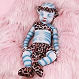 Vollence 20 Inch Na'vi Avatar Sleeping Full Body Silicone Reborn Baby Doll with Pointed Ears,No Hair,Full Weighted Similar Handmade Real Baby Doll, Hyper Realistic Silicone Baby Doll