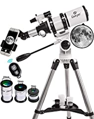【Ultra-clear Refracting Telescope】With 400 mm focal length and 80 mm aperture to capture more light picture and optical glass coated for enhanced image brightness to protect your eyes. 【Optimum Magnification】Three replaceable eyepiece (16X, 40X, 80X)...