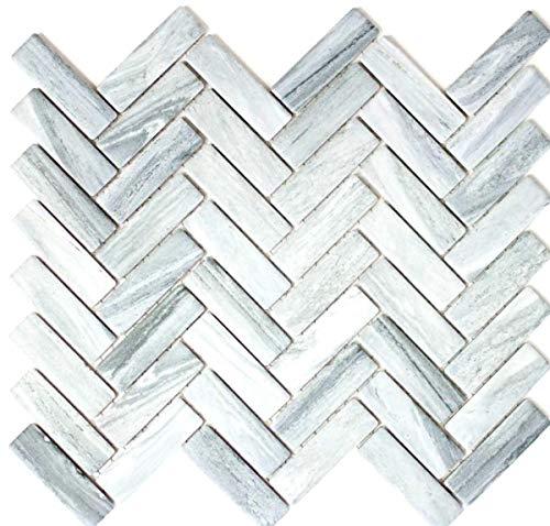 Mozaïek tegel keramiek visgraat steen-look grijs doucheachterwand tegelspiegel MOS24-SO32_f | 10 mozaïekmatten