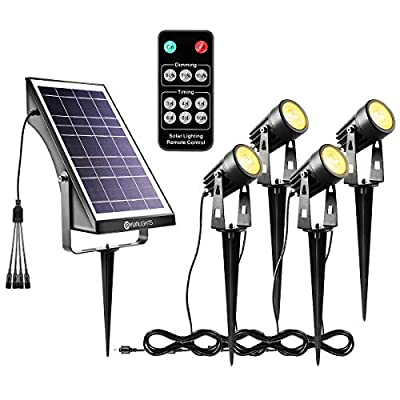 YUNLIGHTS Solar Spotlights Outdoor Landscape Lights Upgraded, Low Voltage Outdoor Solar Spotlight with Remote Control IP65 Waterproof Garden Lights for Patio, Yard, Pathway (Warm White, 4 Pack)