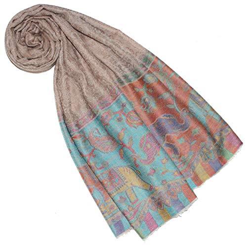 Lorenzo Cana Luxus Pashmina Schal Schaltuch 100% Kaschmir Kaschmirschal Kaschmirtuch Damenschal Gewebt Mehrfarbig, Elefantenmuster-beige-pastelltöne, 70 x 200 cm