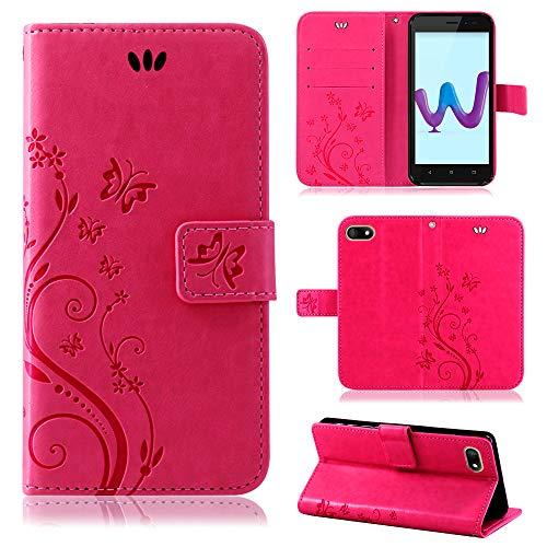 betterfon   Wiko Sunny 3 hülle Flower Hülle Handytasche Schutzhülle Blumen Klapptasche Handyhülle Handy Schale für Wiko Sunny 3 Pink