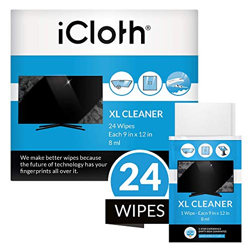 iCloth Extra Large Monitor and TV Screen Cleaner ProGrade Individually Wrapped Wet Wipes 1 Wipe Cleans Several Flat Screen TV#039s and Monitors 24 Wipes