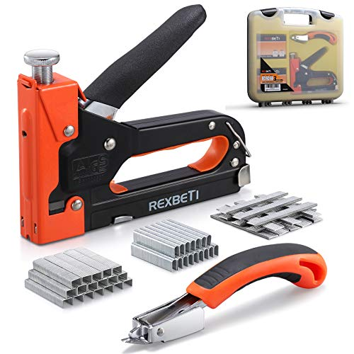 Product Image of the REXBETI Staple Gun, Heavy Duty 3 in 1 Staple Gun with 2600-Piece Staples for Upholstery, Fixing Material, Decoration, Carpentry, Furniture (Staple Gun+case+Remover)
