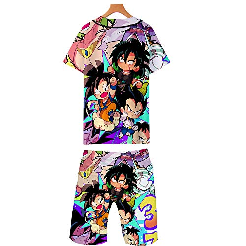 GMANKEE Kurzarm Shorts Anzug Sportswear Strandshorts Freizeitkleidung T Shirts Männer Junge Pyjama Tshirt Schlafanzug Dragon Ball Goku Anime Kleidung,XXL
