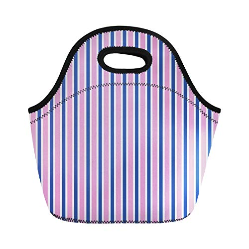 Semtomn Lunch Tote Bag Blue Preppy Navy and Pink Stripe Birthday Bright Candy Reusable Neoprene Insulated Thermal Outdoor Picnic Lunchbox for Men Women