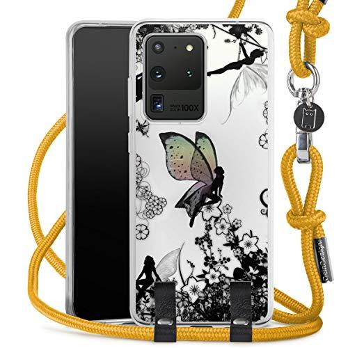 DeinDesign Carry Hülle kompatibel mit Samsung Galaxy S20 Ultra 5G Hülle mit Kordel aus Stoff Handykette zum Umhängen senfgelb Elfe Flügel Ornamente
