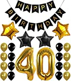 40th Birthday Decorations Balloons Banner - Happy Birthday Black Banner, 40th Gold Number Balloons,Gold and Black, Number 40, Perfect 40 Years Old Party Supplies,Free Bday Printable Checklist -  JANIUS