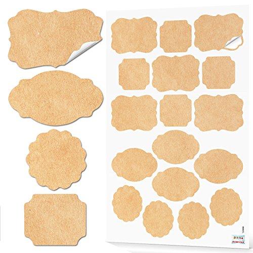 2 x 17 Stück Aufkleber natur beige braun Kraftpapier 4-6,5 cm vintage Nostalgie Haushalts-Etiketten Küchen-Aufkleber Gewürzaufkleber blanko beschreibbar Haushalt Gewürzetiketten Geschenkaufkleber