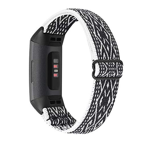 WONMILLE Elastic Bands Compatible with Fitbit Charge 4/Charge 3/SE, Stretchy Nylon Solo Loop Adjustable Wristband Sport Strap for Women Men (Ethnic Black White Rhombus)