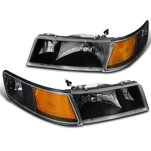 Spec-D Tuning Black Housing Clear Lens Headlights + Corner Lights for 1998-2002 Mercury Grand Marquis Head Light Turn Signal Lamps Left + Right Pair