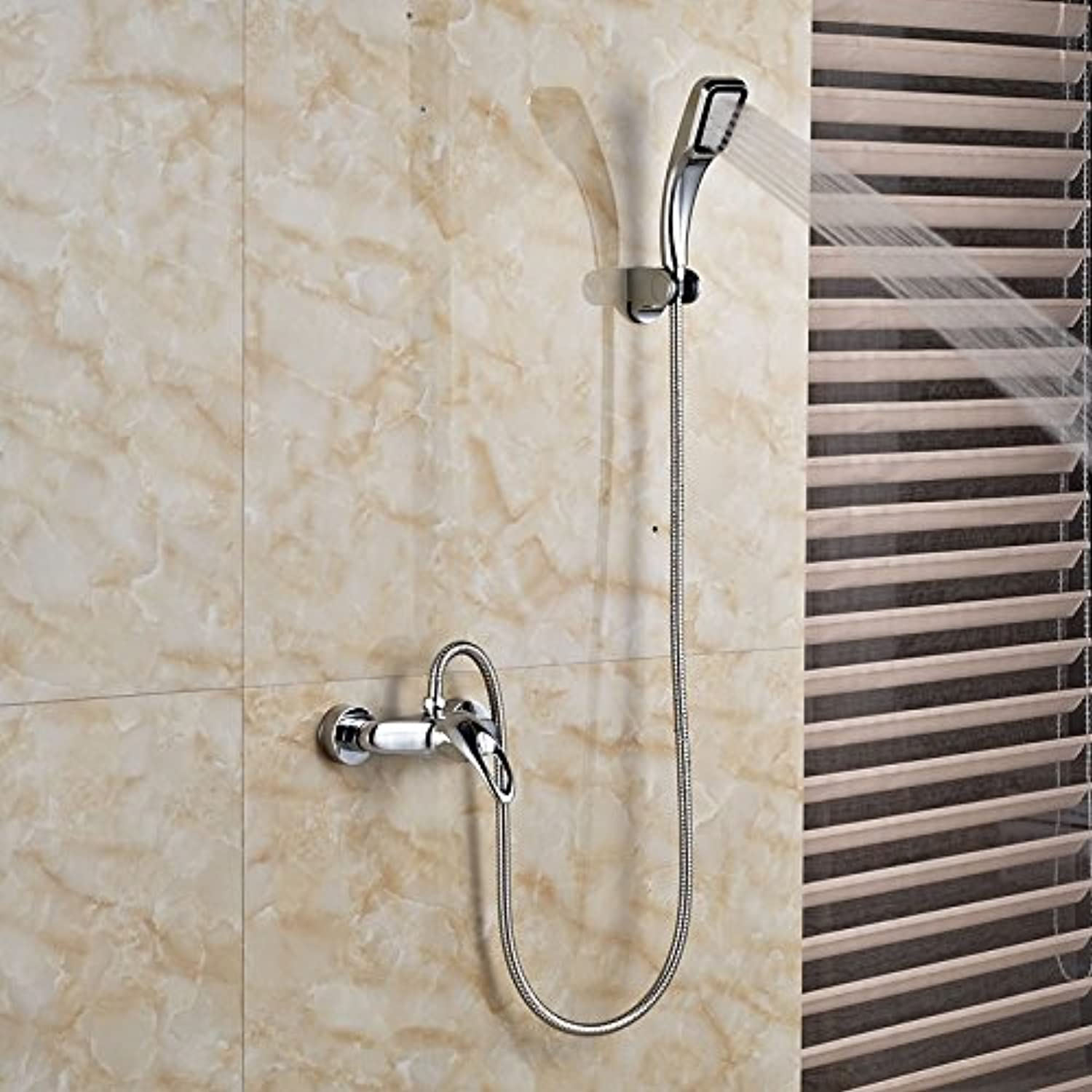 Singe Handle Dual Hole Hot Cold Shower Faucet Wall Mount Chrome Brass Hand Held Shower Mixer Taps,Clear