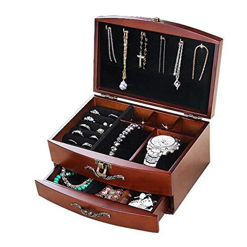YULAN sieradendoos massief houten sieradendoos retro twee lagen lade Europese ring oorbellen halsketting klok display opslag geschenk 2 kleur 20 * 15 * 11 cm