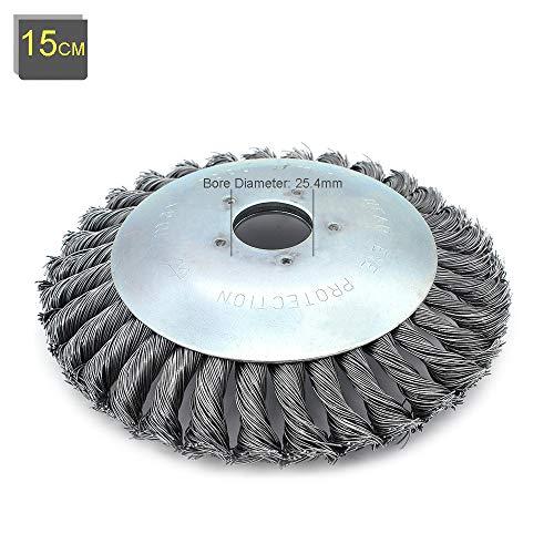 Buwico Wildkraut Fugenbürste Unkrautbürste, 6 Zoll /8 Zoll Rotary Weed Brush Joint Twist Disc Stahldraht Zopf-Kegelbürste, Durchmesser 150mm /200mm, Bohrung 25.4mm (6 Zoll)