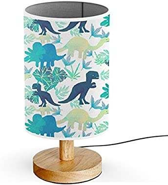 ArtLights - Wood Base Decoration Desk/Table/Bedside Lamp [ Watercolor T-Rex Others Dinosaurs ]