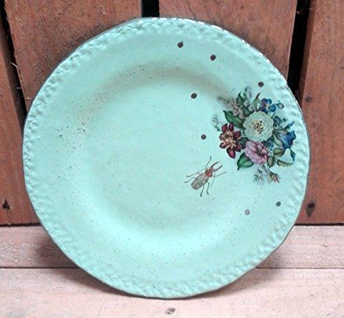 Ringteller, Dessertteller, Kleiner Teller Blüten mit Käfer hellgrün