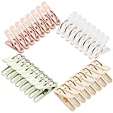 Plastic Clothespins, 32 Pack Laundry Clothes Pins Clips with Springs, 4 Colors Clothes Drying Line Pegs for Kitchen Outdoor Trip, Air-Drying Clothing Pin Set