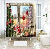 Rubyia Duschvorhang Anti-Schimmel, Fenster Schnee Weihnachtsbaumstern 3D Motiv Polyester Shower Curtain mit Ringe