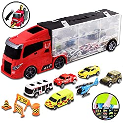 FUN FOR EVERYONE: Handy Transporter Carrycase Truck with collectable vehicles and accessories set - perfect to take with you anywhere, anytime! CONTENTS: Transporter truck includes: a variety of cars, ambulance, buses, helicopters, a stop sign, fence...