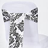 BalsaCircle 10 Black Damask Flocking on White Chair Sashes Bows Ties - Wedding Party Ceremony Reception Decorations Cheap Supplies