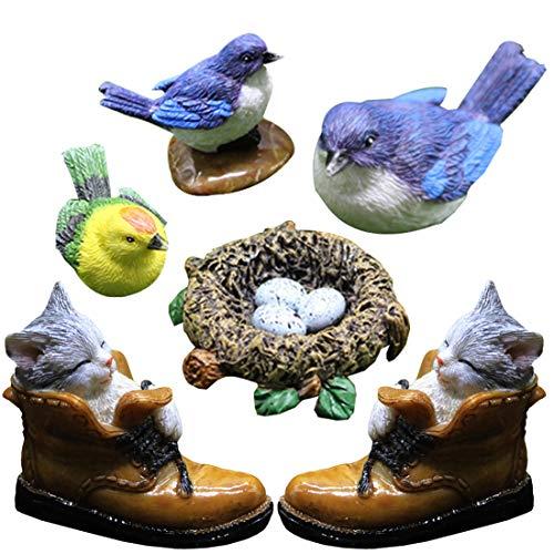 Besteme, 7 decorazioni da giardino in resina, realistiche per patio e laghetto, statuette in miniatura e decorazione da giardino (uccelli, nido di uccelli e gatto)
