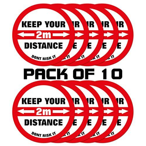 Paquete de 10 pegatinas autoadhesivas para suelo con diseño de círculos, COVID-19, advertencia Keep Your Distance