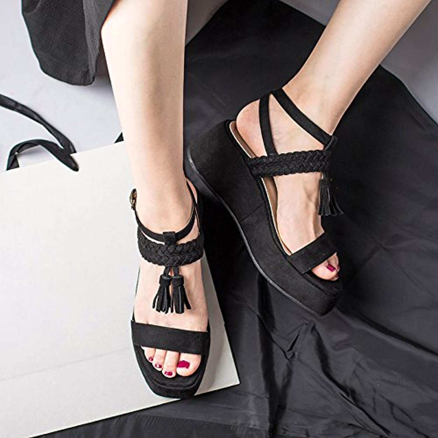 2017 New Retro high-Heeled Sandals Toe shoes Female Thick Soled Sandals Female Xia Rome Muffin Word Buckle