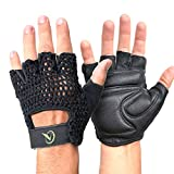 A_WINDROSE Leather Reinforced Padded Palm, Cotton Crochet Cycling, Workout, Driving Gloves (L)
